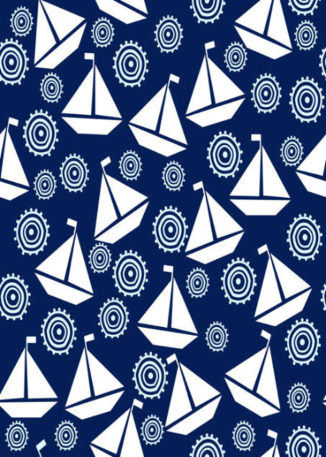 White boats with blue background birthday card
