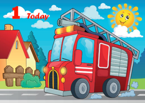 Red fire engine 1st birthday card
