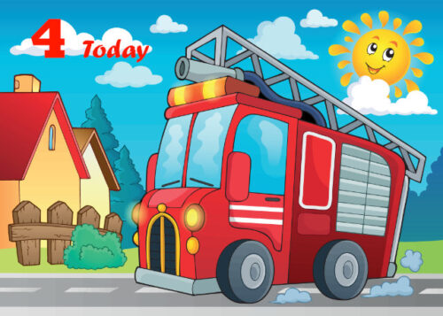 Red fire engine 4th birthday card