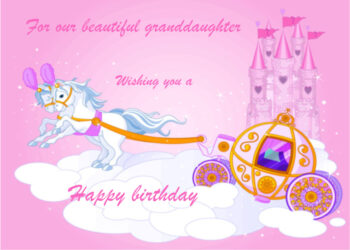 Princess castle horses and carriage Granddaughter birthday card