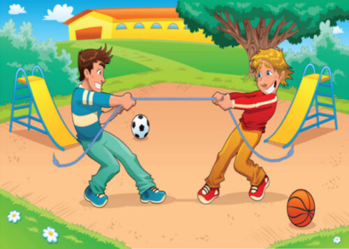 Boys playing in the park birthday card