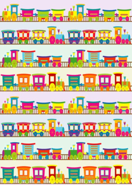 Colourful trains and carriages birthday card