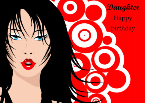 Female figure with red and white circle background Daughter birthday card