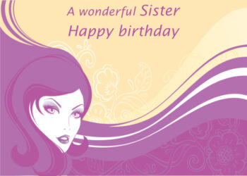 Female with purple hair and flowers Sister birthday card