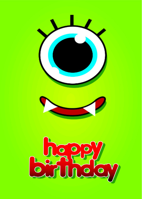 Happy birthday with eye and smile with lime background birthday card