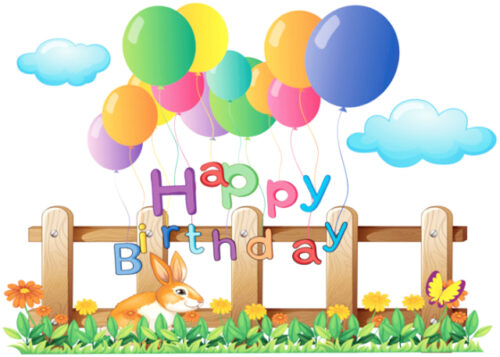 Happy birthday with colourful balloons birthday card