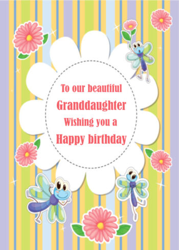 Pastel flowers and stripes Granddaughter birthday card