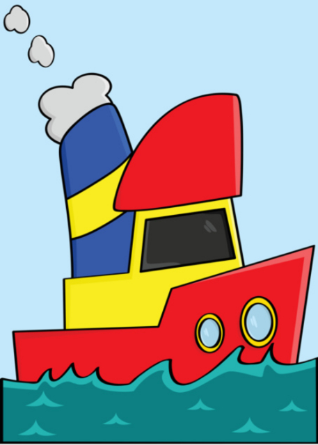 Red, yellow and blue boat birthday card