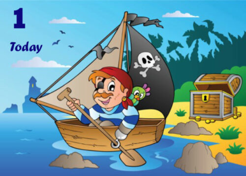 Little boy in pirate boat 1st birthday card