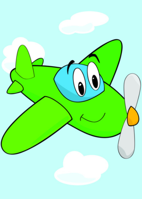 Small lime propeller plane birthday card