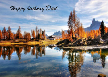 Lake surrounded by mountains Dad birthday card