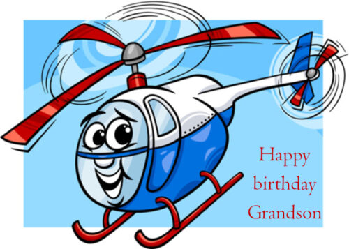 Happy helicopter aircraft Grandson birthday card
