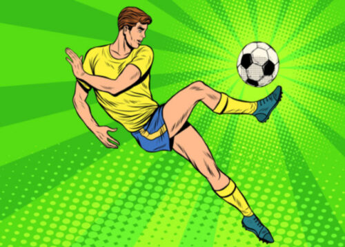 Football player with green background birthday card