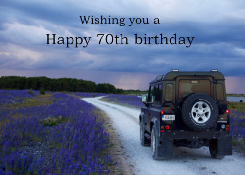 Land Rover in countryside 70th birthday card