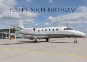 Private jet 50th birthday card