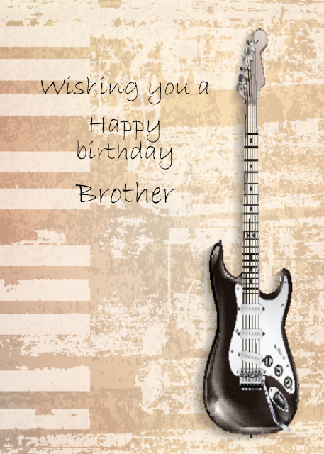 Black guitar with cream background Brother birthday card