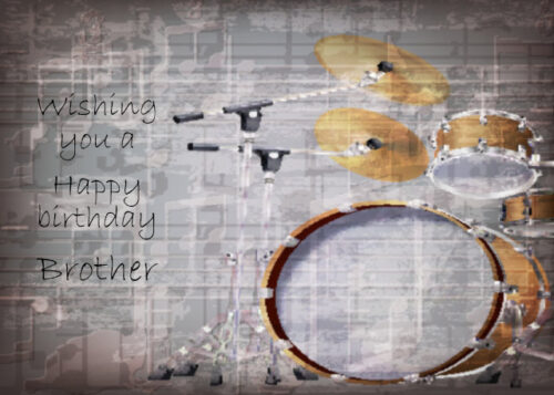 Gold coloured drum kit Brother birthday card