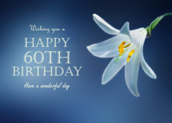 Delicate white flower 60th birthday card