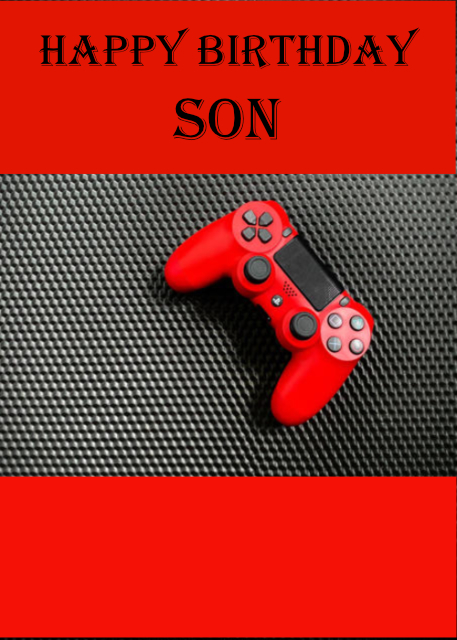 Red gaming console Son birthday card