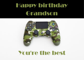 Camouflage gaming console Grandson birthday card