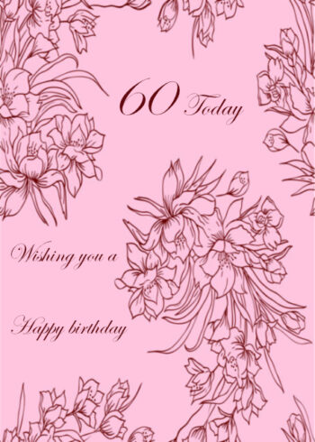Flowers with pale pink background 60th birthday card