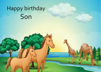 Horses and giraffes by a river Son birthday card