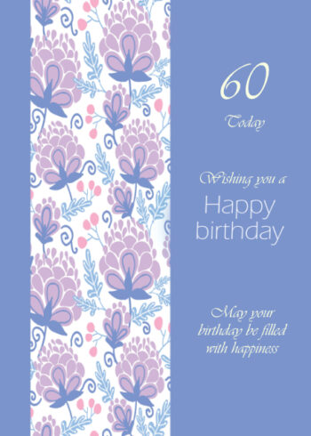 Pink and lilac floral border 60th birthday card