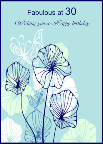 Birds and flowers 30th background birthday card