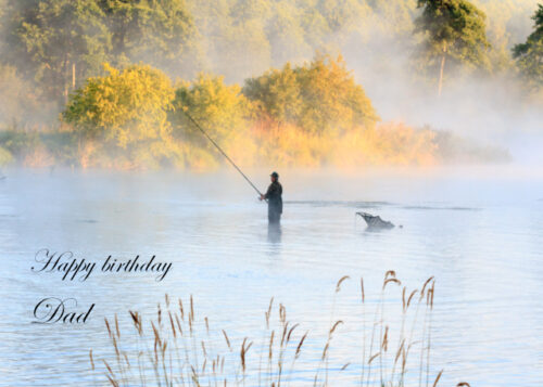 Male fishing in river Dad birthday card