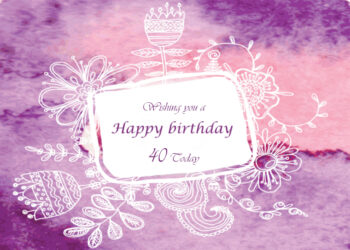 Flowers with pink and purple background 40th birthday card