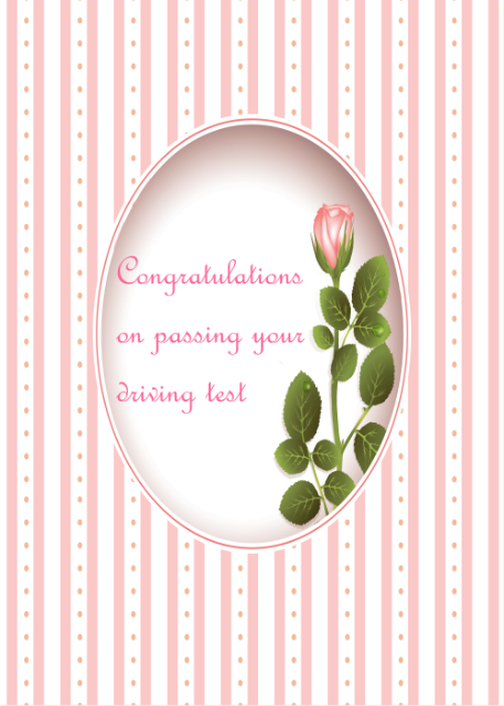 Pink rose and stripes Congratulations on passing your driving test card