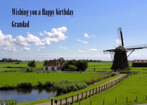 Windmill and cottage in rural setting Grandad birthday card