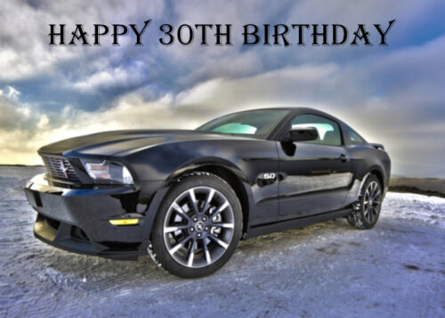 Ford Mustang muscle car 30th birthday card