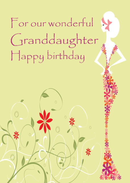 For our wonderful Granddaughter birthday card
