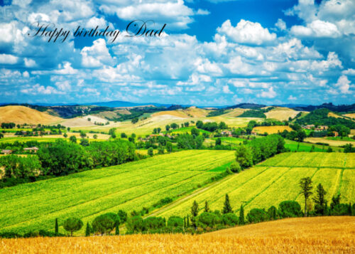 Green fields and rolling hills Dad birthday card