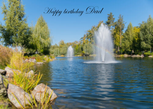 Lake with water fountains Dad birthday card