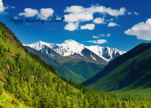 Snow covered mountains and forests Dad birthday card