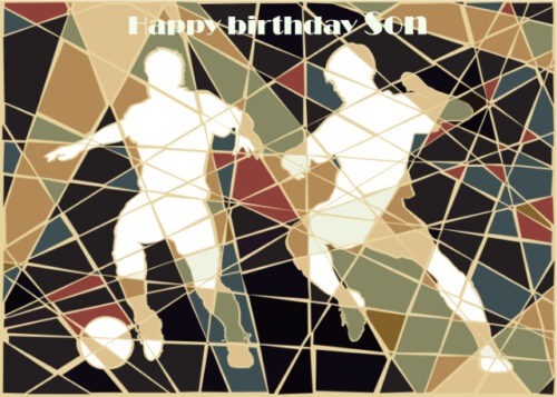 Footballers with mosaic background Son birthday card