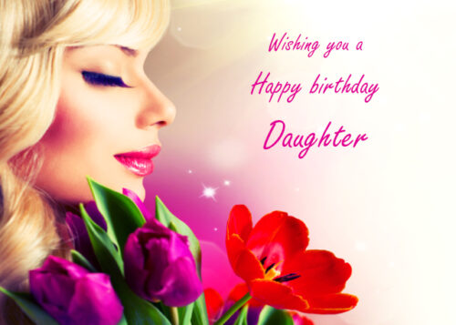 Elegant lady with flowers Daughter birthday card