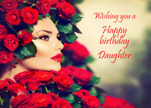 Elegant lady with red roses Daughter birthday card