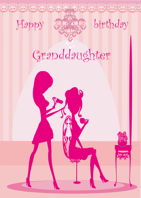 At the hairdressers Granddaughter birthday card