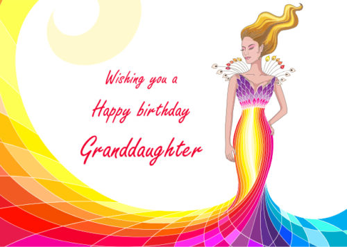 Female wearing vibrant colourful dress Granddaughter birthday card