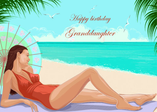 Relaxing on the beach Granddaughter birthday card
