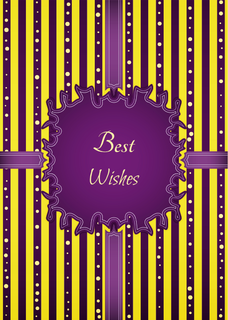 Best wishes yellow and purple striped birthday card