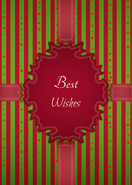 Best wishes green and red striped birthday card