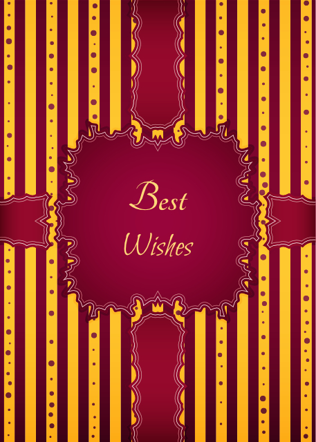 Best wishes red and yellow striped birthday card