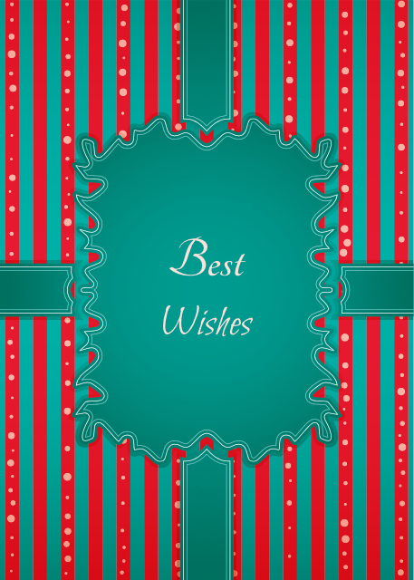 Best wishes red and aqua striped birthday card