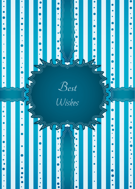 Best wishes blue and white striped birthday card