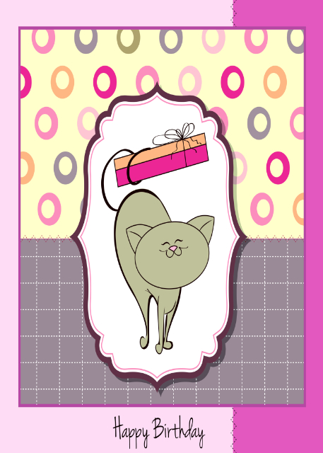 Cute cat with tail wrapped around present birthday card