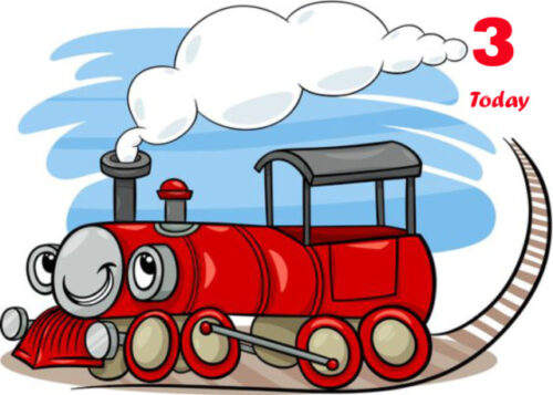 Smiling red steam train 3rd birthday card